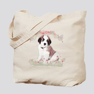 Saint Bernard Flowers Tote Bag