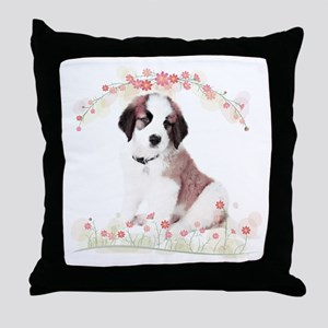 Saint Bernard Flowers Throw Pillow