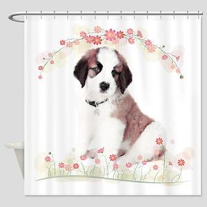Saint Bernard Flowers Shower Curtain