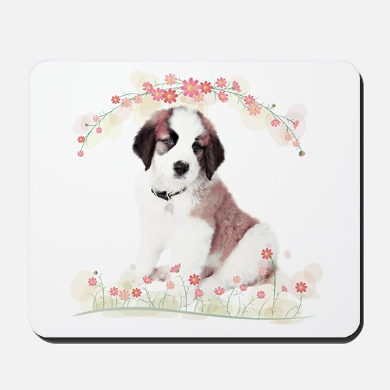 Saint Bernard Flowers Mousepad