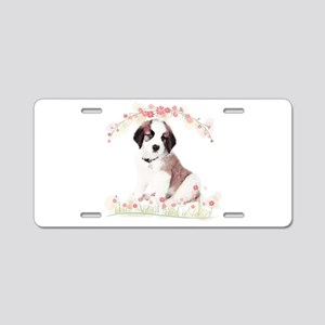 Saint Bernard Flowers Aluminum License Plate