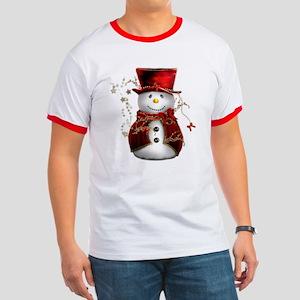 Cute Snowman in Red Velvet Ringer T