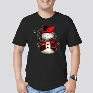 Cute Snowman in Red Velvet Men's Fitted T-Shirt (d