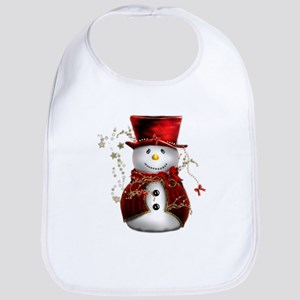 Cute Snowman in Red Velvet Bib