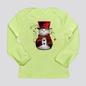 Cute Snowman in Red Velvet Long Sleeve Infant T-Sh