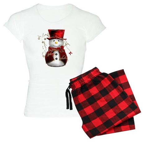 Red Snowman Women's Dark Pajamas