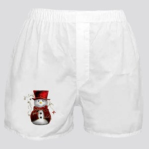 Cute Snowman in Red Velvet Boxer Shorts