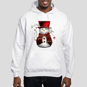 Cute Snowman in Red Velvet Hooded Sweatshirt