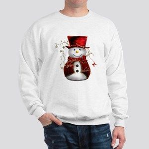 Cute Snowman in Red Velvet Sweatshirt