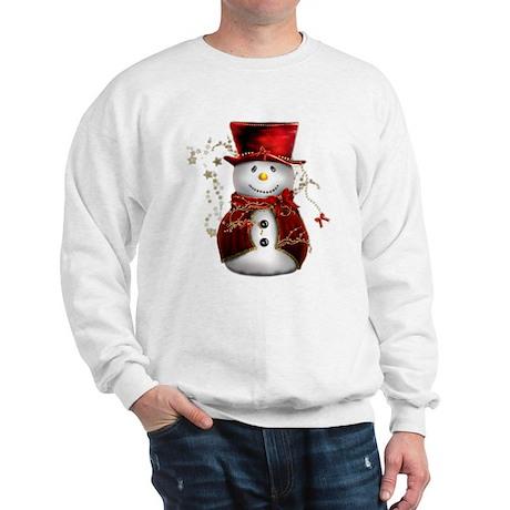 Cute Snowman in Red Velvet Sweatshirt