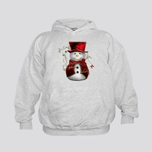 Cute Snowman in Red Velvet Kids Hoodie