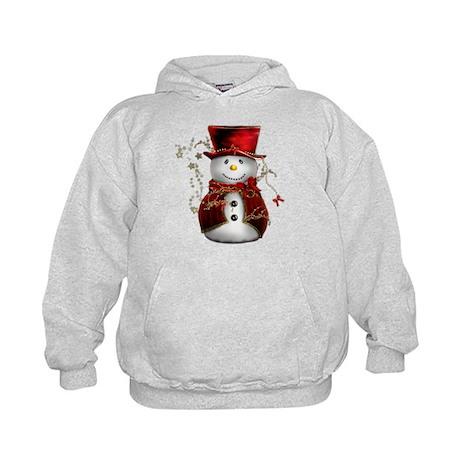Cute Snowman in Red Velvet Kids Hoodie