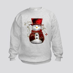 Cute Snowman in Red Velvet Kids Sweatshirt