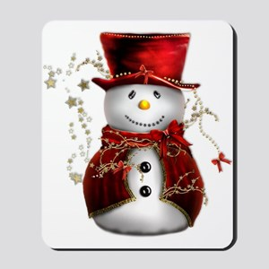 Cute Snowman in Red Velvet Mousepad