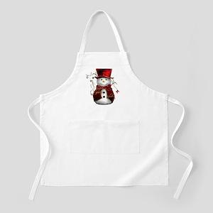 Cute Snowman in Red Velvet Apron