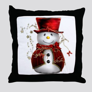 Cute Snowman in Red Velvet Throw Pillow