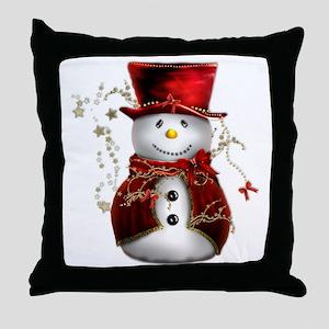 Cute Snowman in Red Velvet Throw Pillow