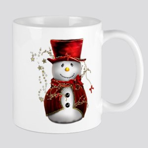 Cute Snowman in Red Velvet Mug