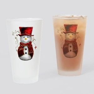 Cute Snowman in Red Velvet Drinking Glass