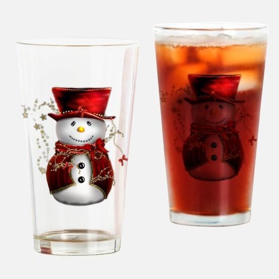 Cute Snowman in Red Velvet Drinking Glass