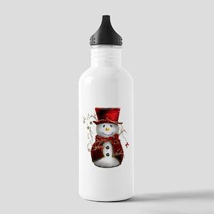 Cute Snowman in Red Velvet Stainless Water Bottle