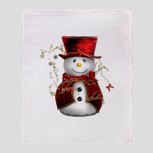 Cute Snowman in Red Velvet Throw Blanket
