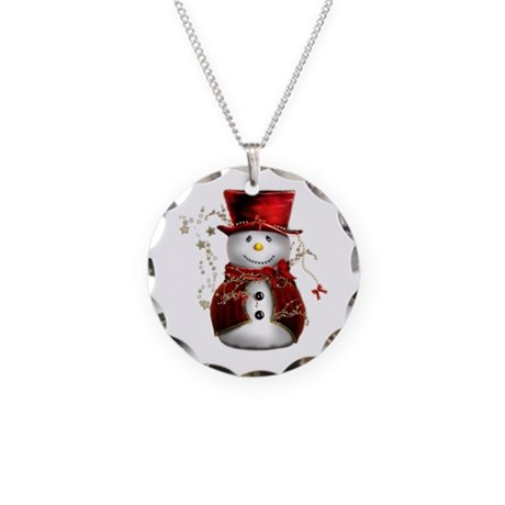 Cute Snowman in Red Velvet Necklace Circle Charm