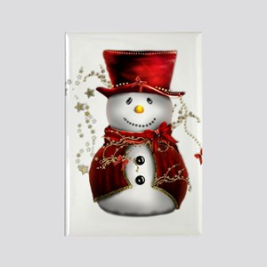 Cute Snowman in Red Velvet Rectangle Magnet