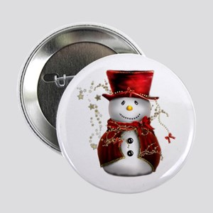 "Cute Snowman in Red Velvet 2.25"" Button"