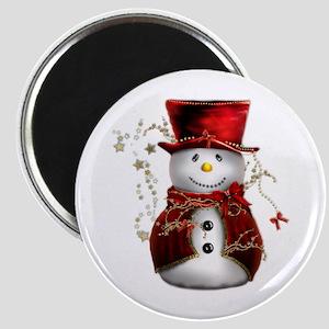 Cute Snowman in Red Velvet Magnet