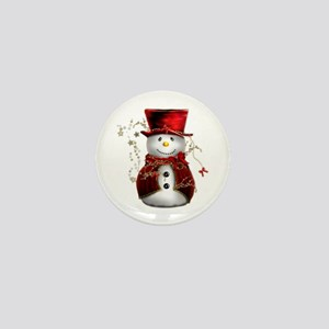 Cute Snowman in Red Velvet Mini Button