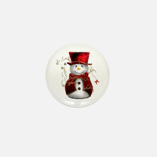 Cute Snowman in Red Velvet Mini Button