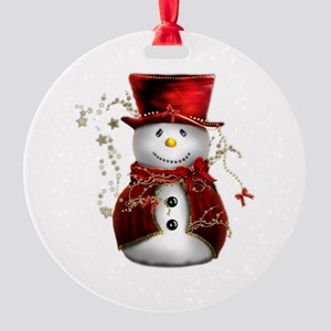 Cute Snowman in Red Velvet Round Ornament