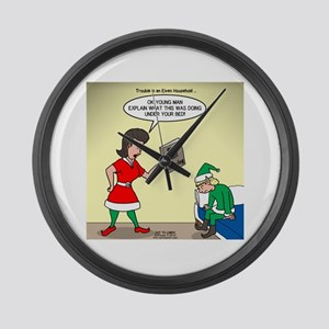 Elf Trouble Large Wall Clock