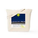 Christmas Star on Snowy Night Tote Bag