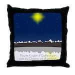 Christmas Star on Snowy Night Throw Pillow