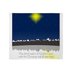 Christmas Star on Snowy Night Throw Blanket
