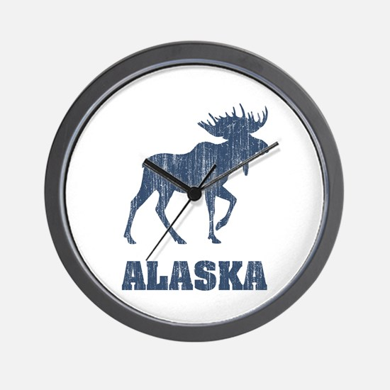 Retro Alaska Moose Wall Clock