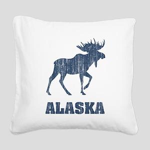 Retro Alaska Moose Square Canvas Pillow