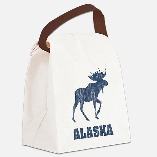 Retro Alaska Moose Canvas Lunch Bag