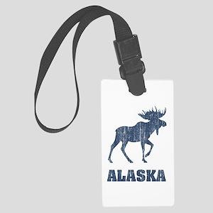Retro Alaska Moose Large Luggage Tag