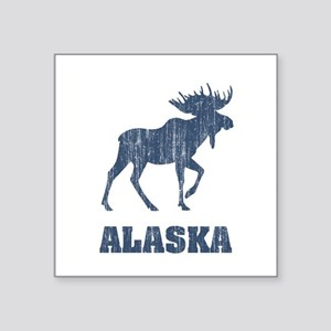 "Retro Alaska Moose Square Sticker 3"" x 3"""