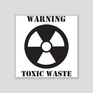 "Warning - Toxic Waste Square Sticker 3"" x 3"""