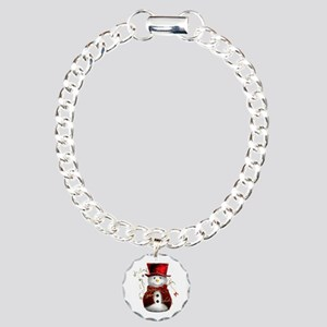 Cute Snowman in Red Velvet Charm Bracelet, One Cha