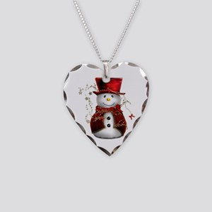 Cute Snowman in Red Velvet Necklace Heart Charm