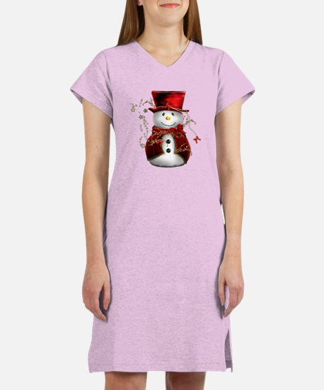 Cute Snowman in Red Velvet Women's Nightshirt