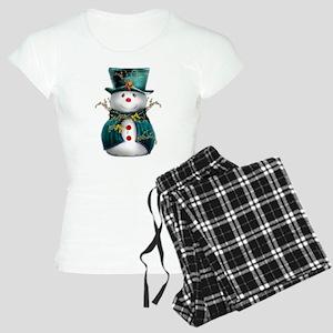 Cute Snowman in Green Velvet Women's Light Pajamas
