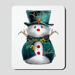 Cute Snowman in Green Velvet Mousepad