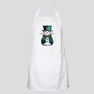 Cute Snowman in Green Velvet Apron