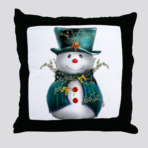 Cute Snowman in Green Velvet Throw Pillow